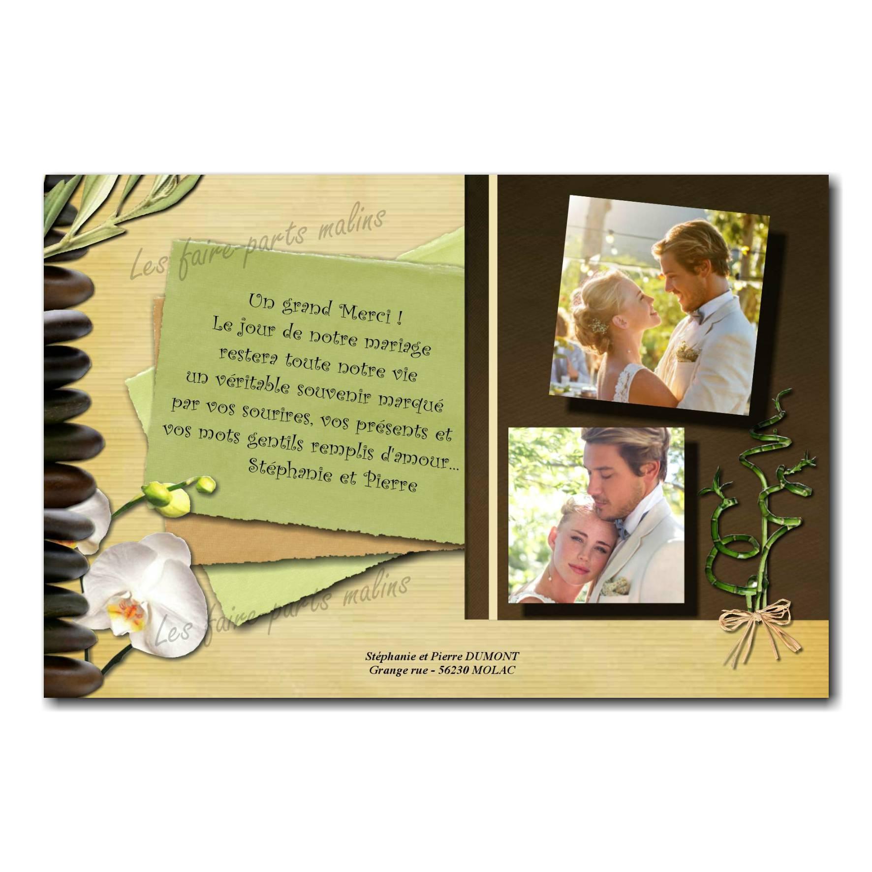cartes de remerciements galets et orchidée zen marron et vert