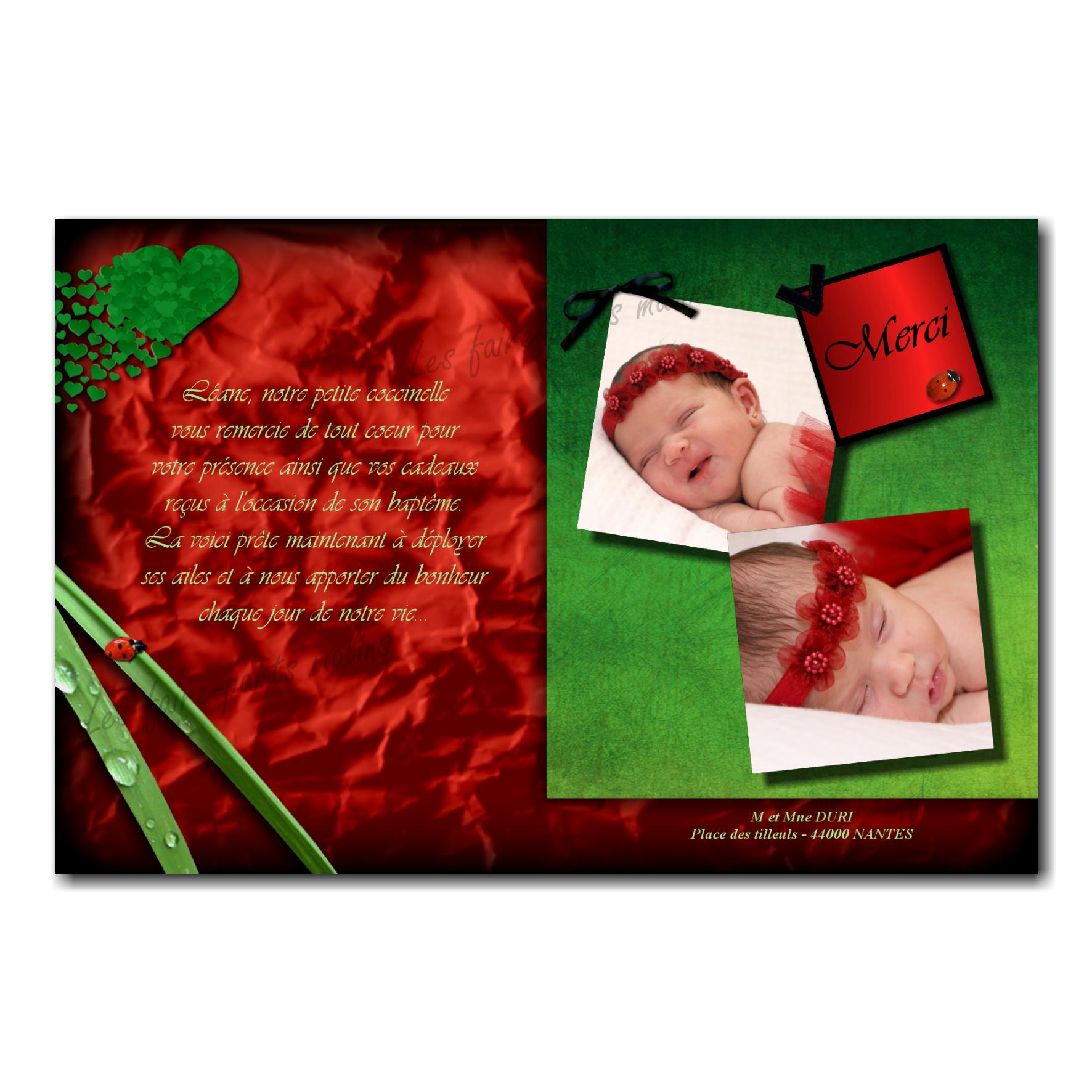 carte de remerciements coccinelle vert et rouge