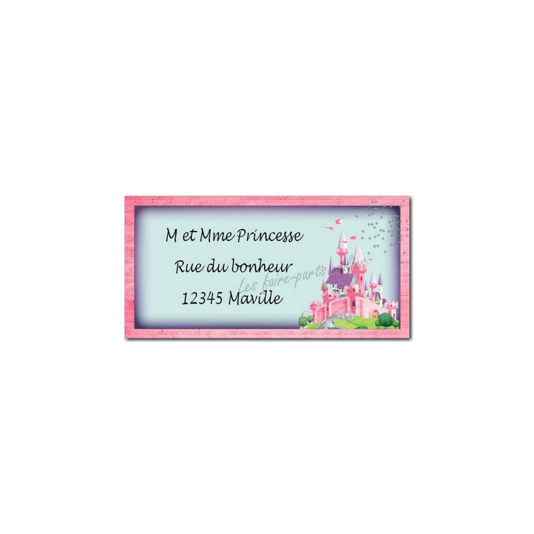 étiquette adresse château de princesse