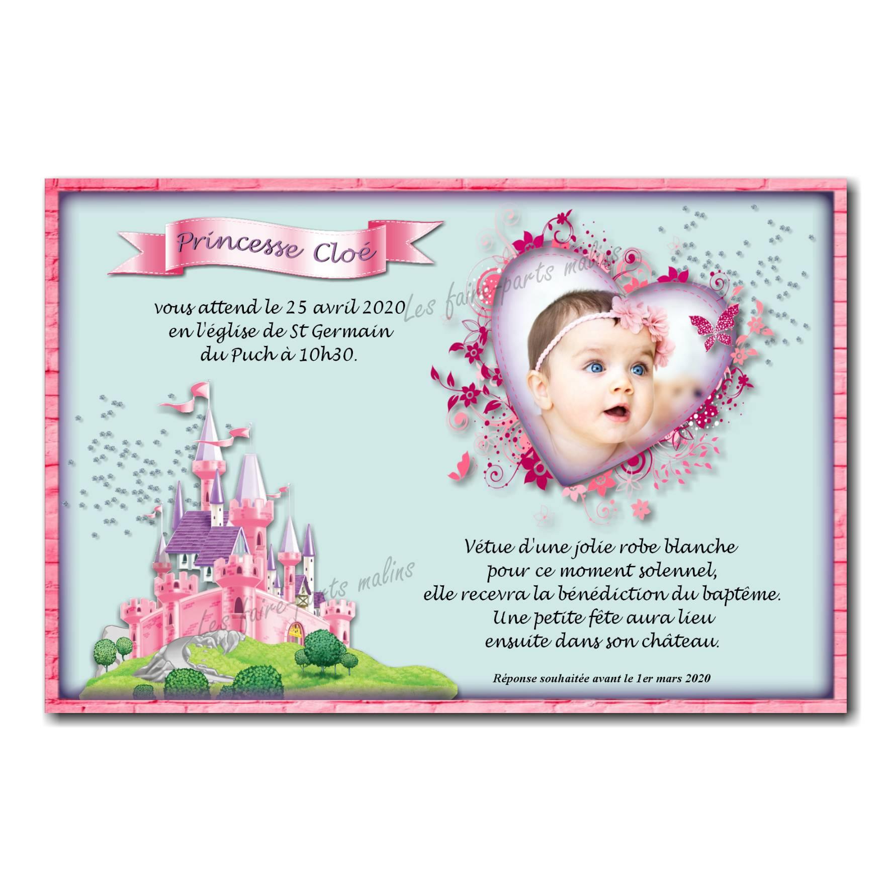Faire Part Fille Sur Le Theme Princesse