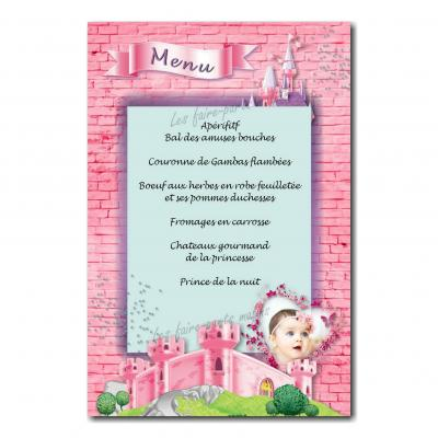 Menu princesse chateau rose et violet