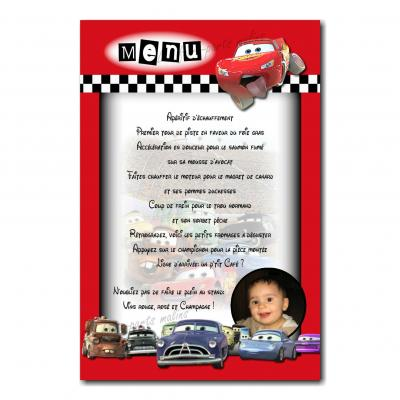 carte de menu avec photo flash mc queen