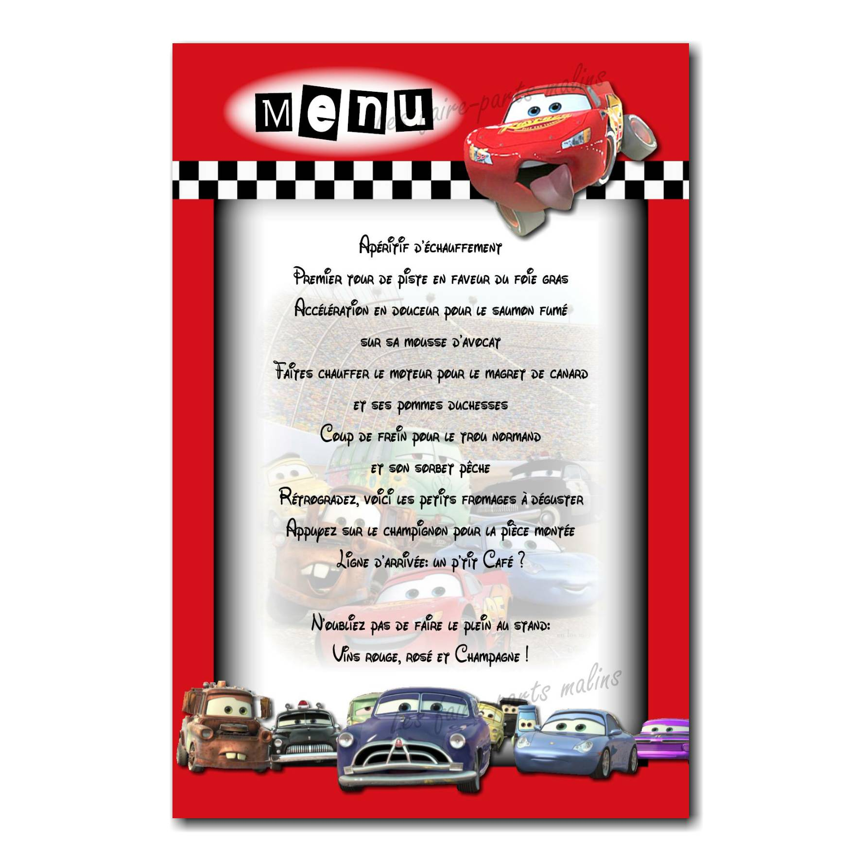 carte de menu flash mc queen et voitures de courses