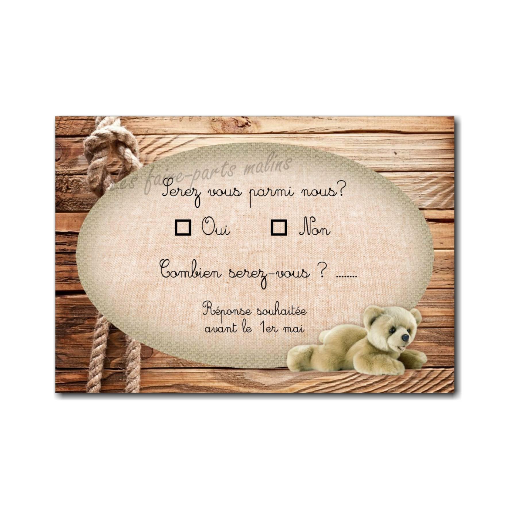 coupon réponse fond de bois clair avec ourson