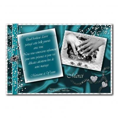 cartes de remerciements turquoise et blanc diamant