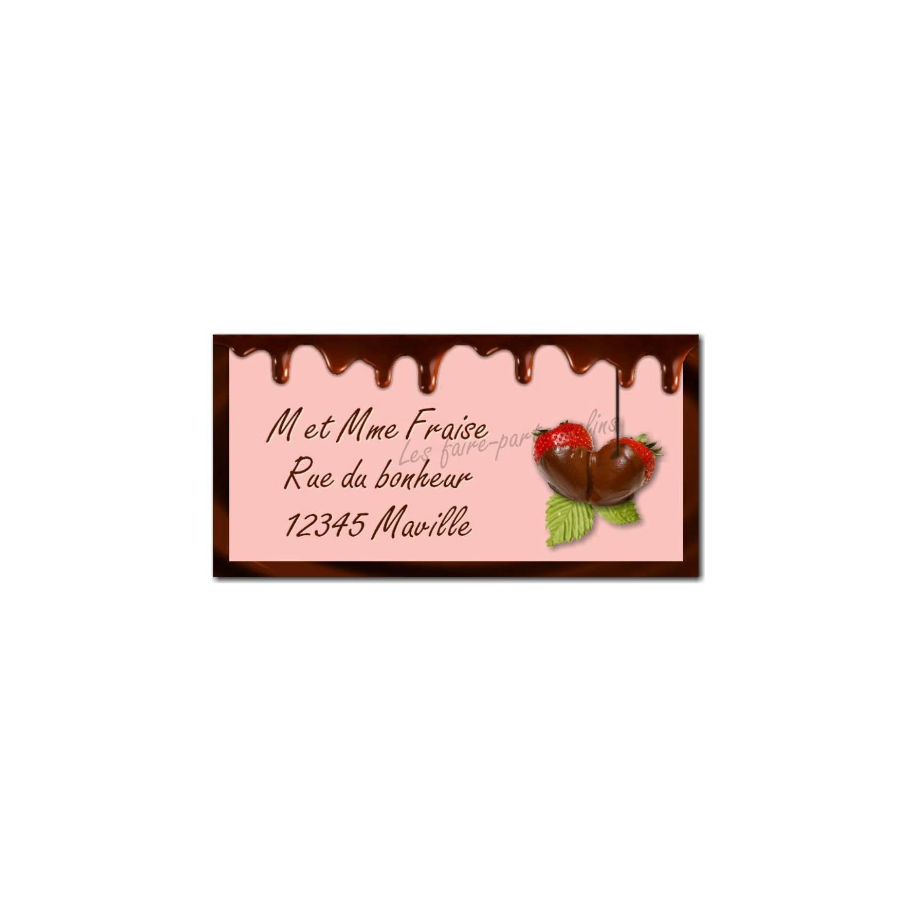 étiquette adresse fraise chocolat