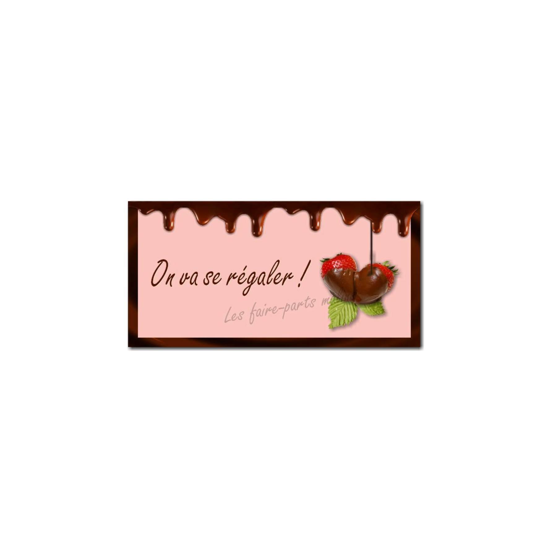 étiquette enveloppe fraise chocolat