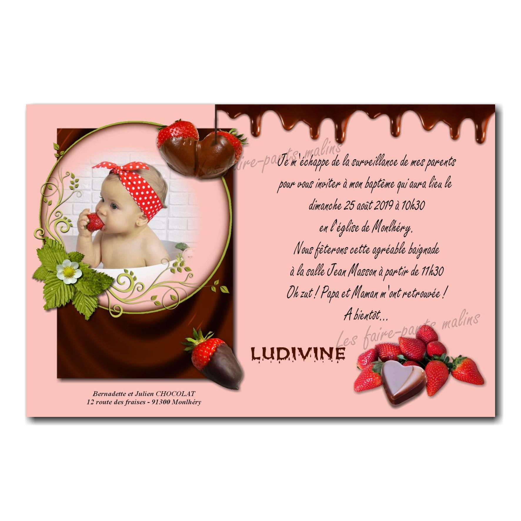 faire part fraise chocolat rose et marron