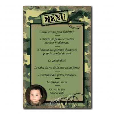 carte de menu militaire fond camouflé