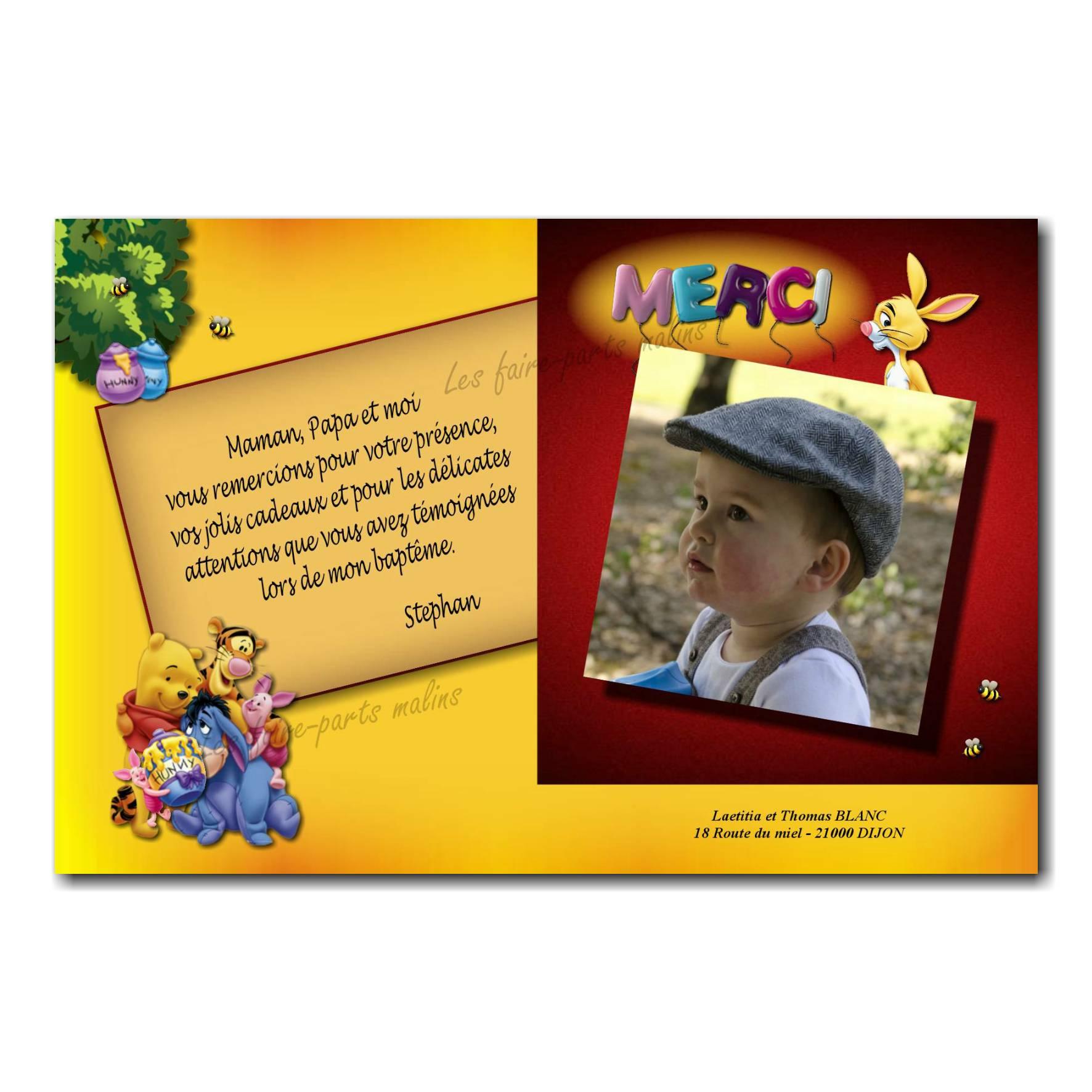 carte de remerciements winnie l'ourson avec miel