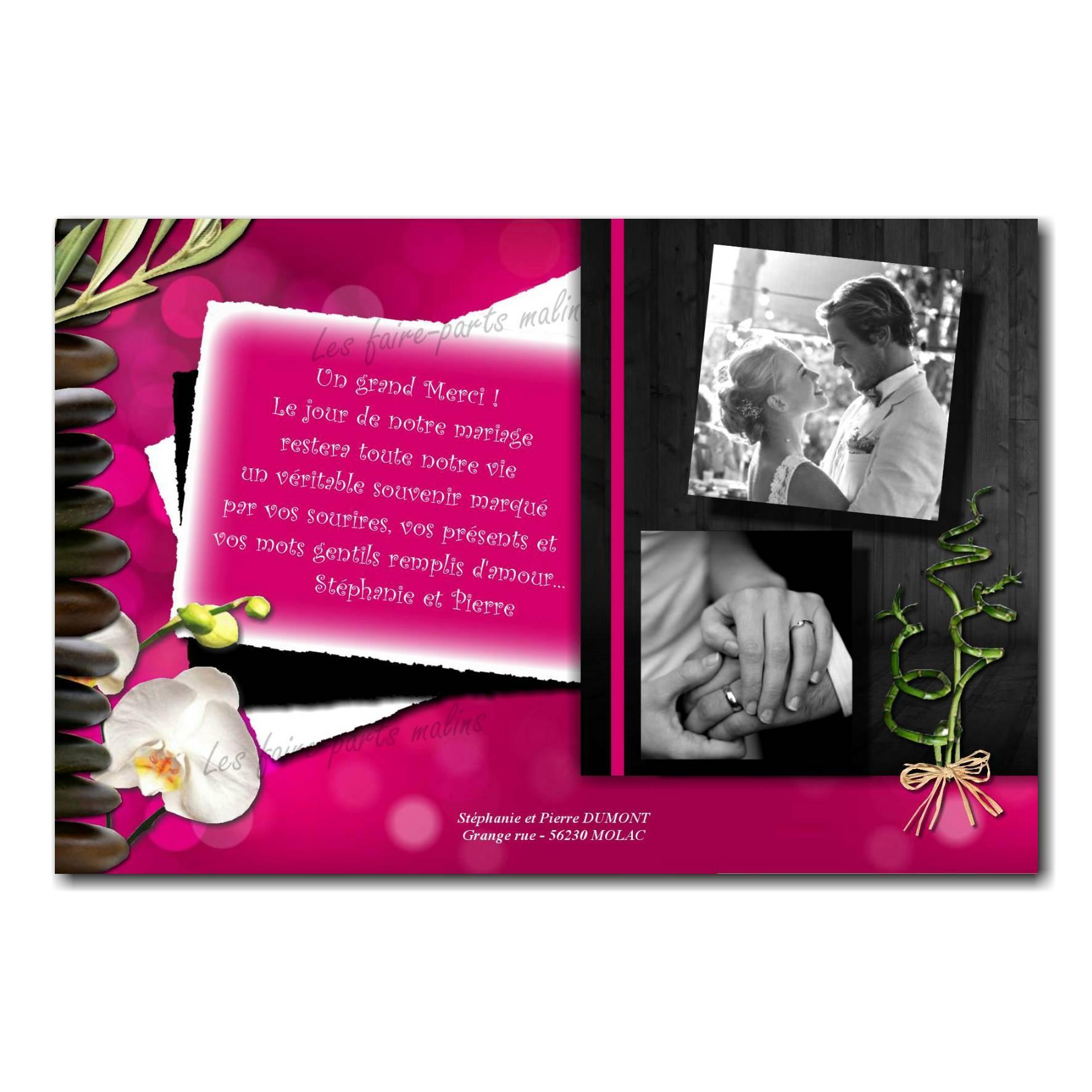 cartes de remerciements fuchsia et noir avec orchidées et deux photos