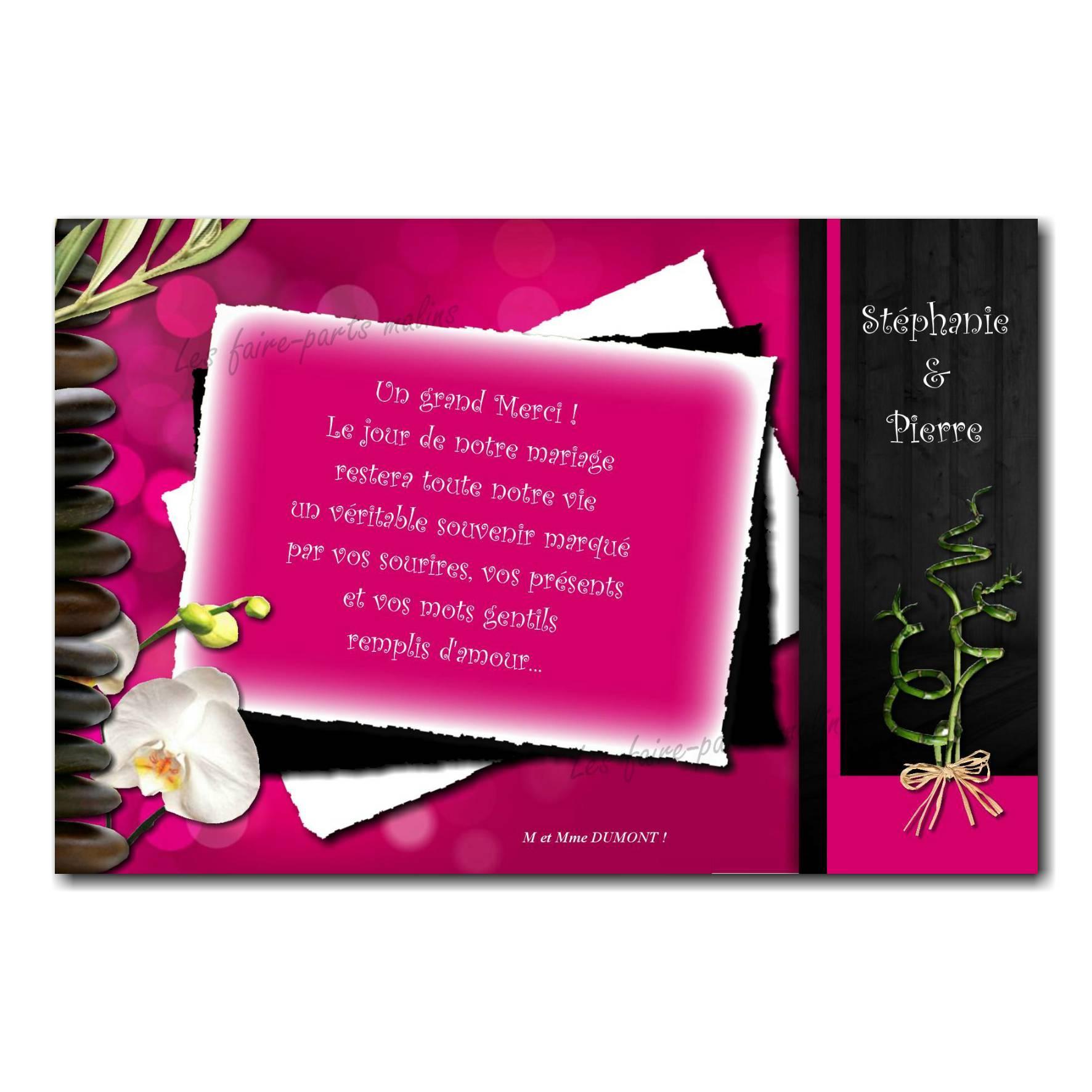 cartes de remerciements zen fuchsia et noir galets