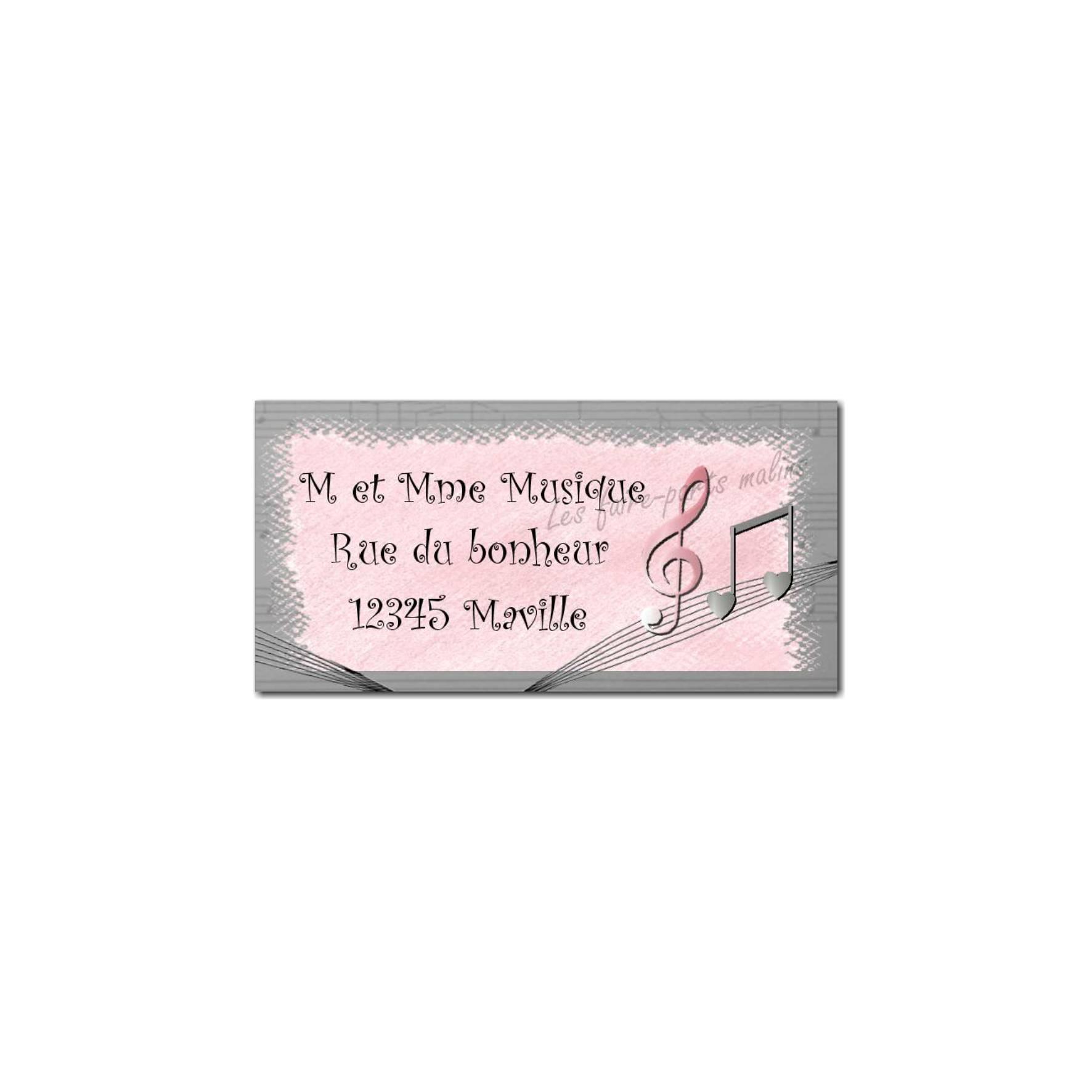 étiquette adresse rose note de musique