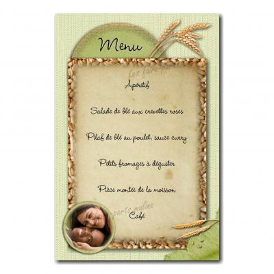 carte de menu épis de blé vert et beige
