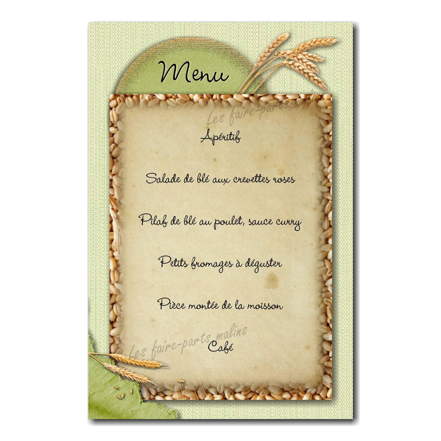 carte de menu fond grain de blé avec épis vert