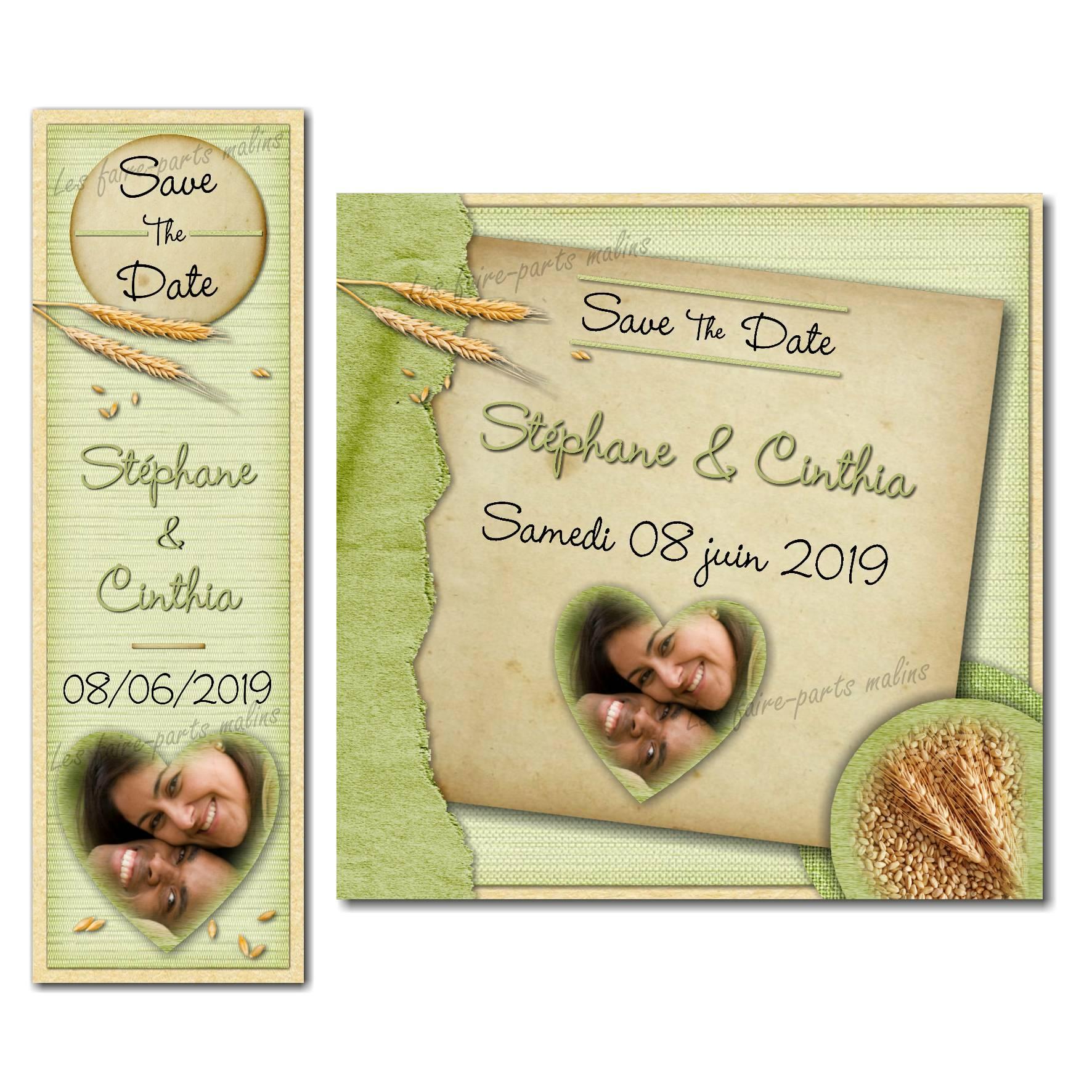 save the date épis de blé mariage froment