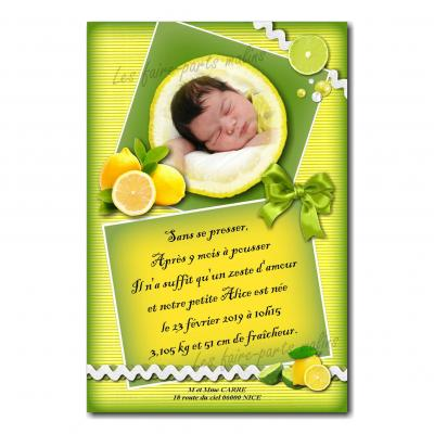 Faire part citron vert et jaune