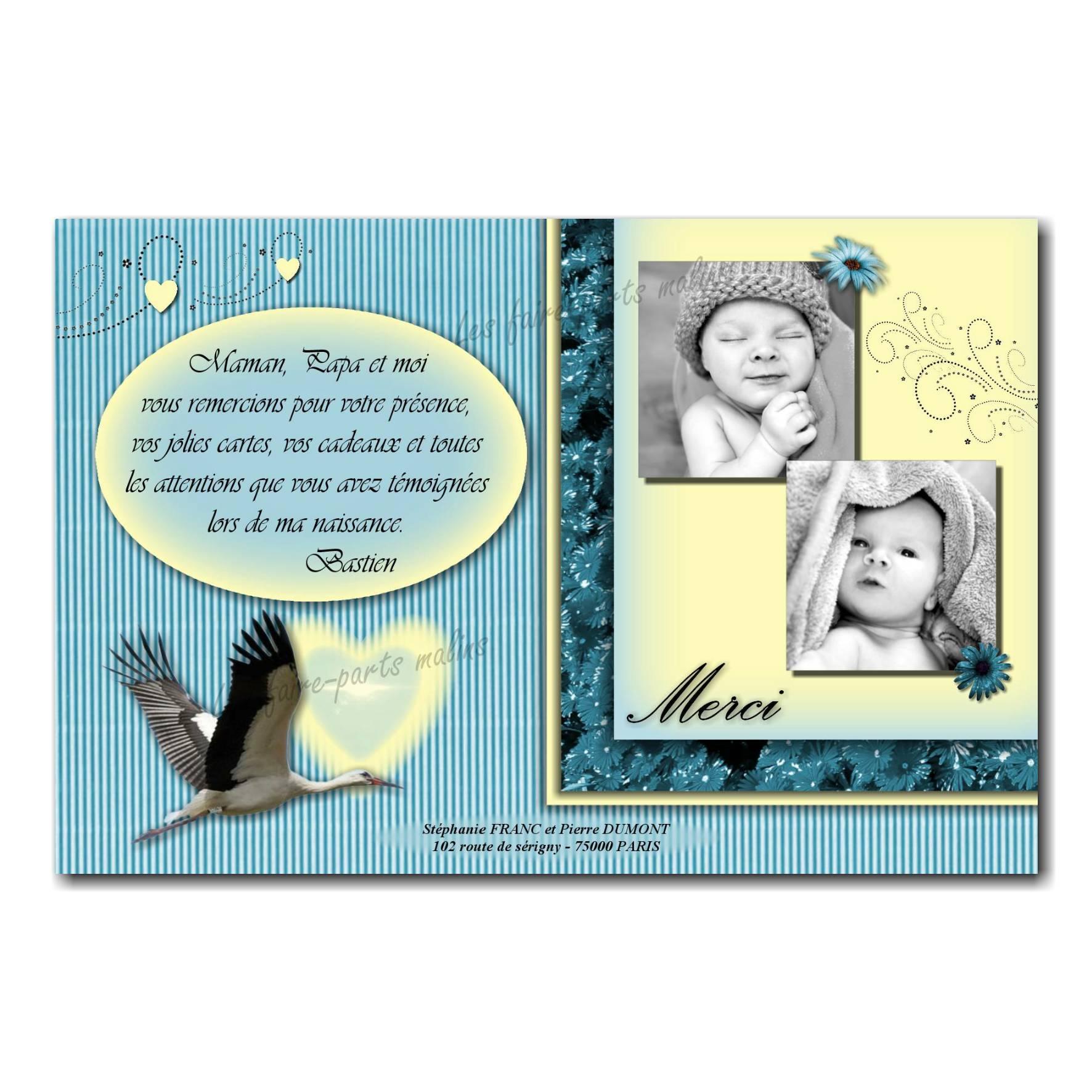carte de remerciements cigogne avec 2 photos enfant