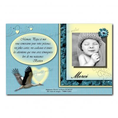carte de remerciements cigogne bleu et jaune