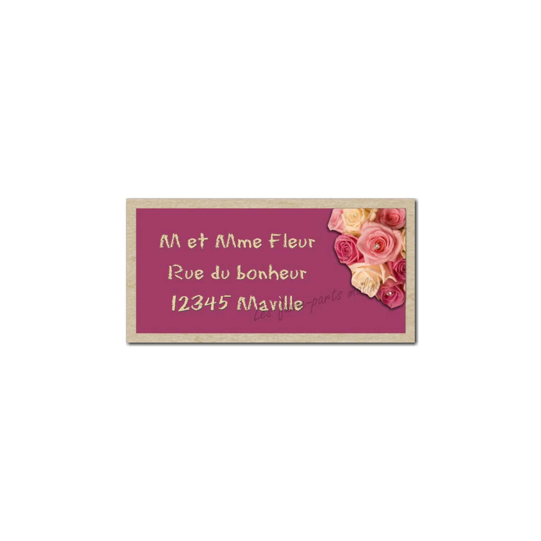 étiquette adresse bouquet de roses