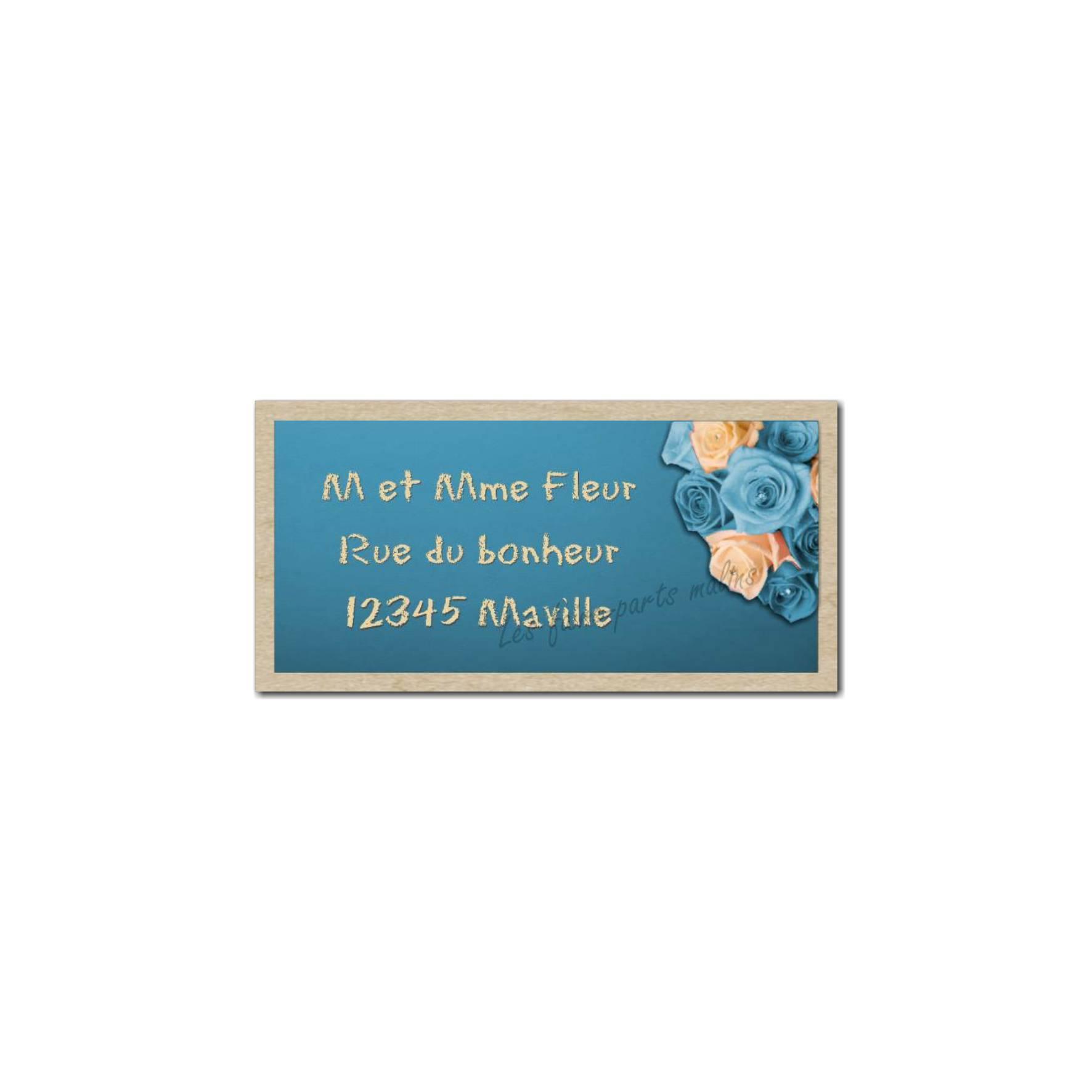 étiquette adresse roses bleues