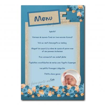 carte de menu avec photo bouquet de fleur bleu et beige