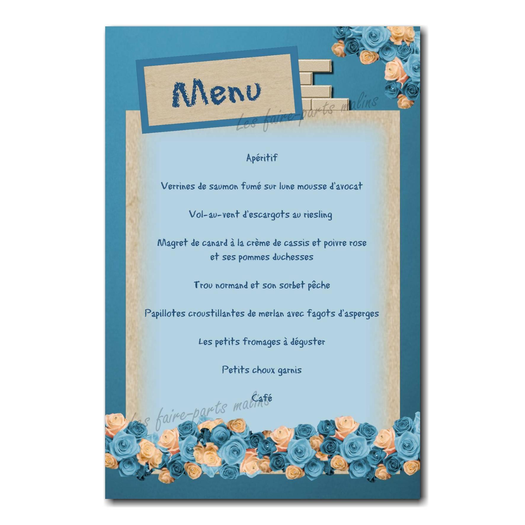 17 garcon menu