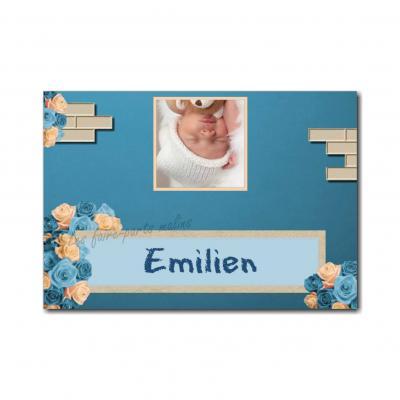 Marque-place avec photo et fleurs bleu et beige