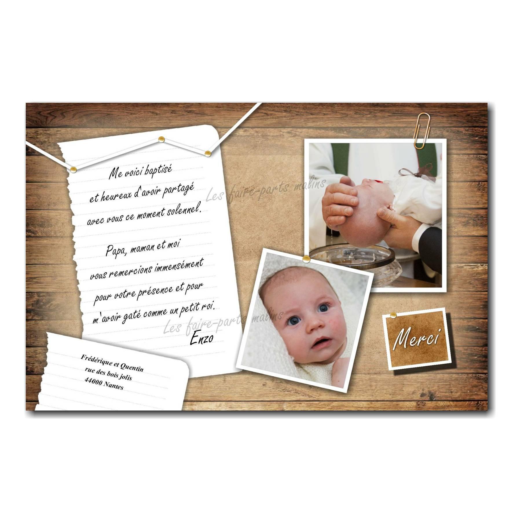carte de remerciements fond bois