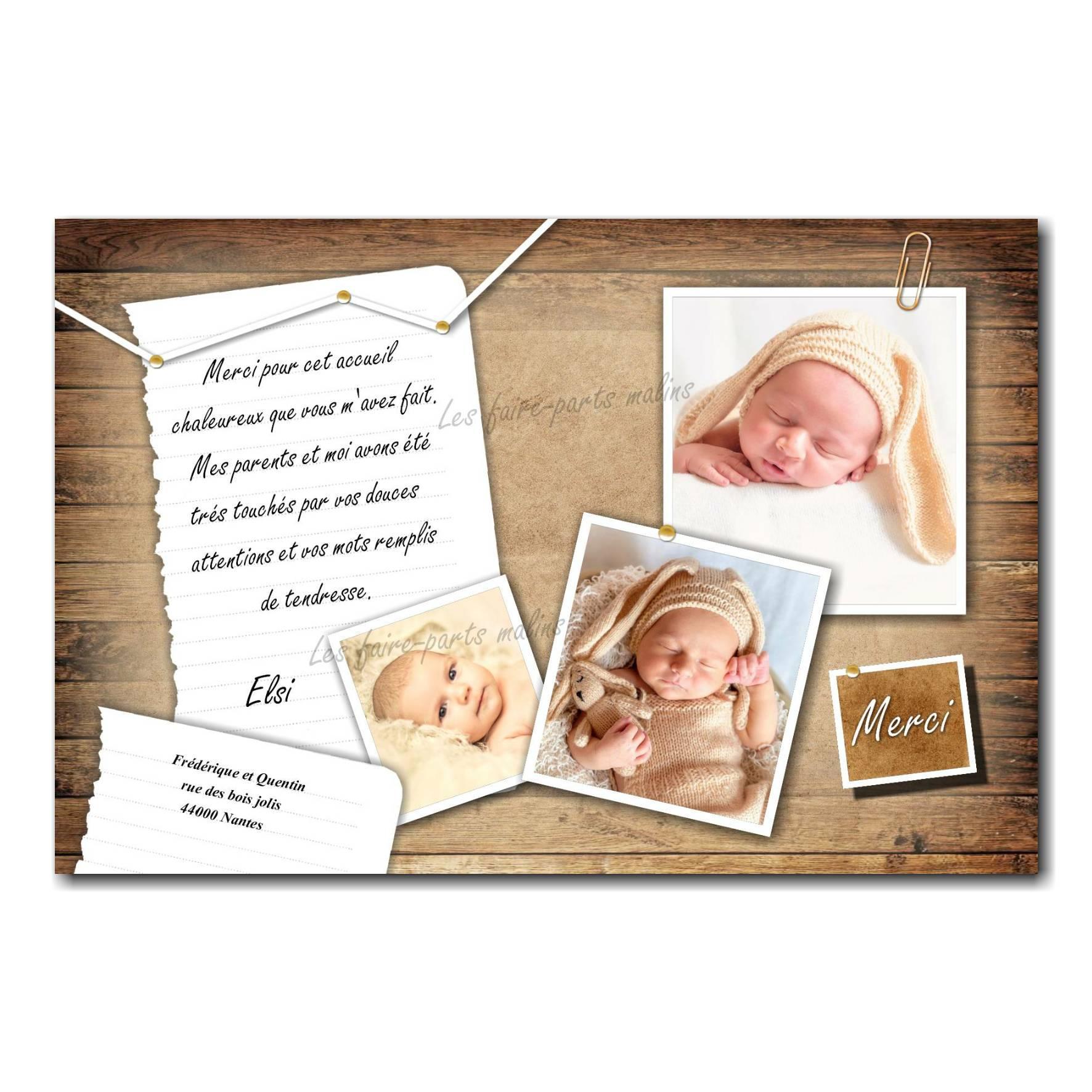 carte de remerciements feuille de papier épinglée sur bois