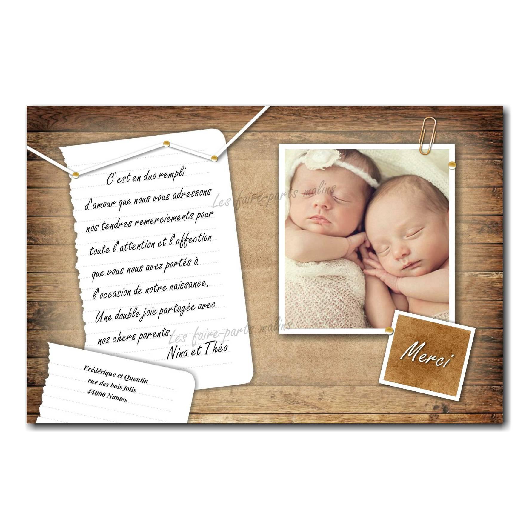 carte de remerciements avec photo jumeaux