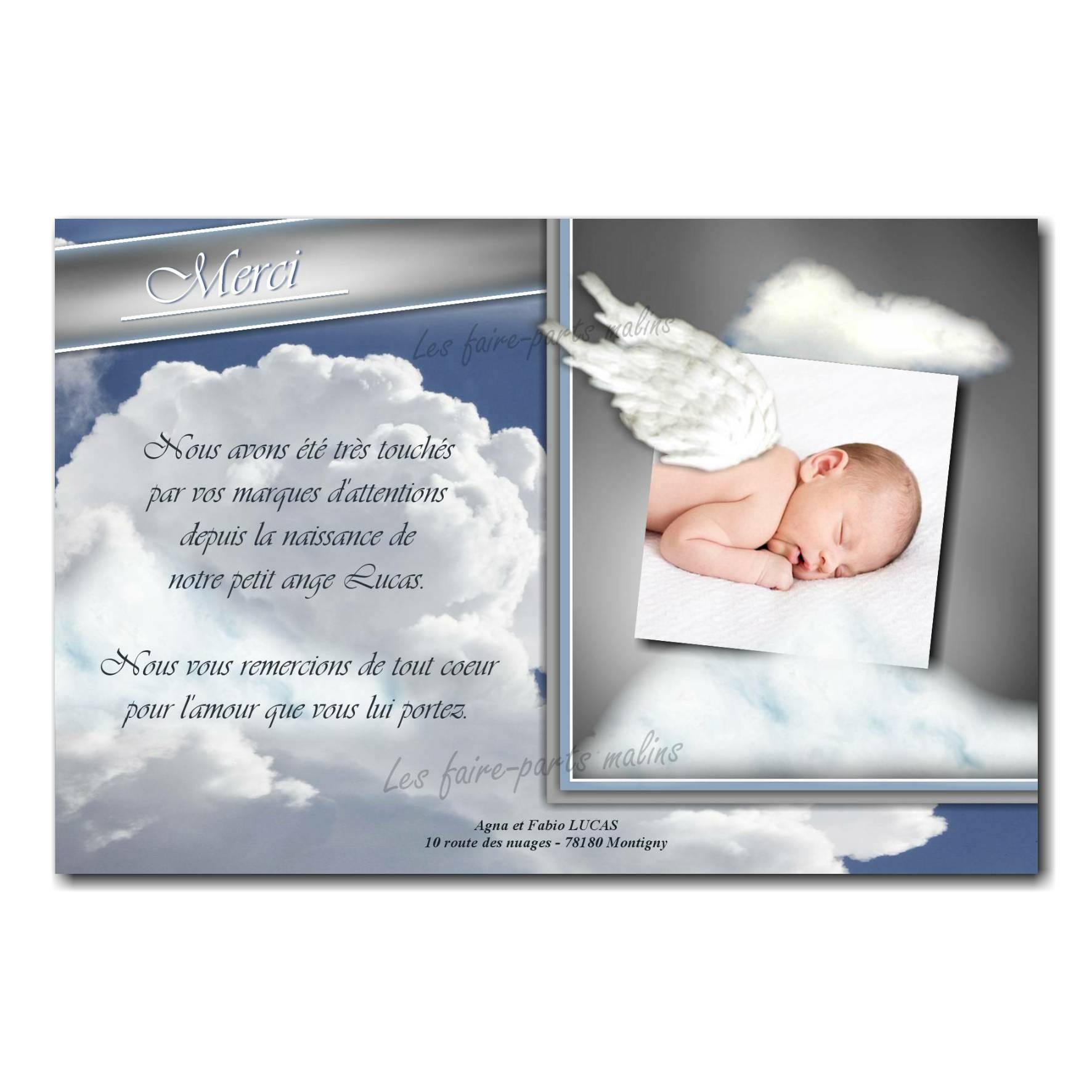 carte de remerciements montage bébé avec ailes d'ange