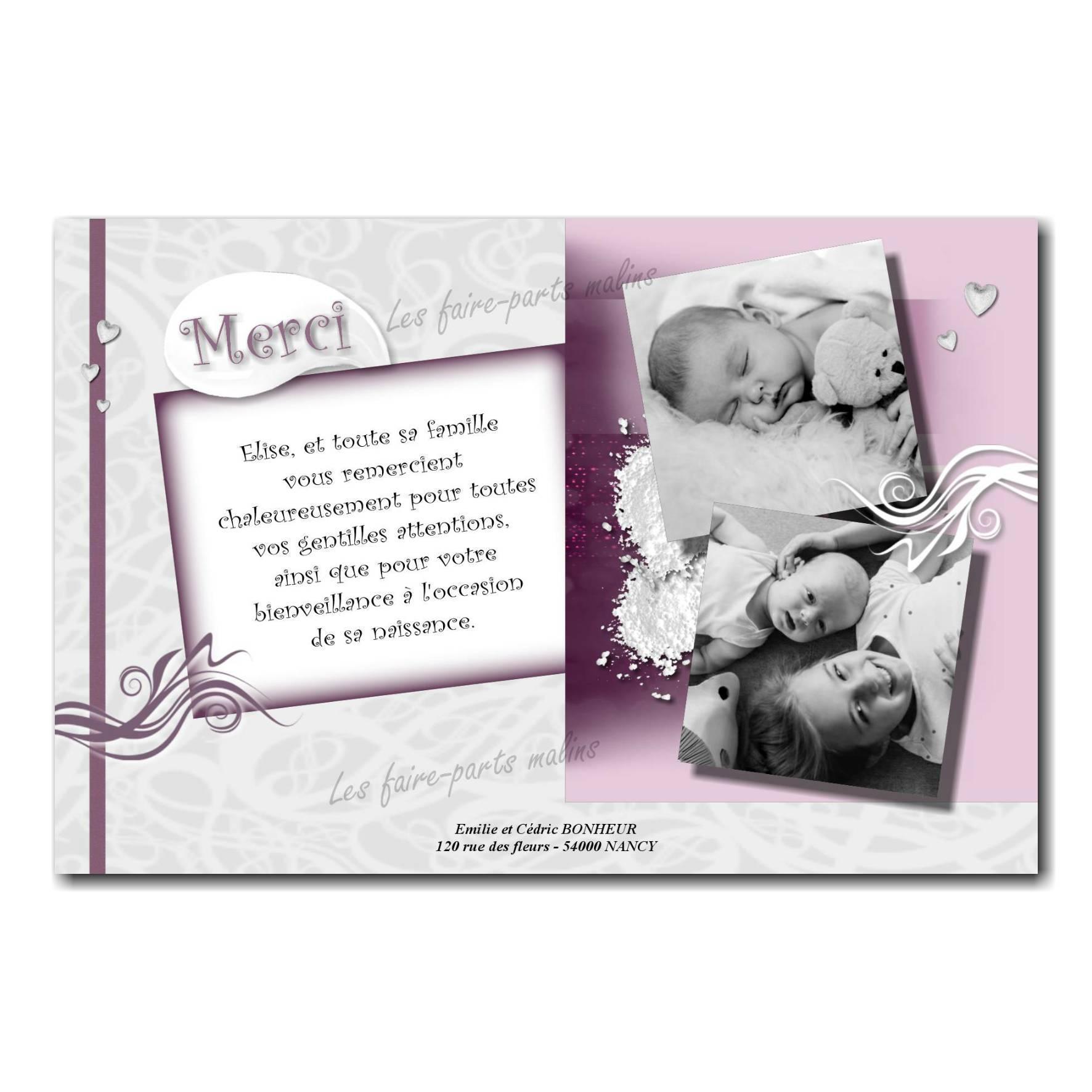 carte de remerciements deux photos noir et blanc sur fond violet