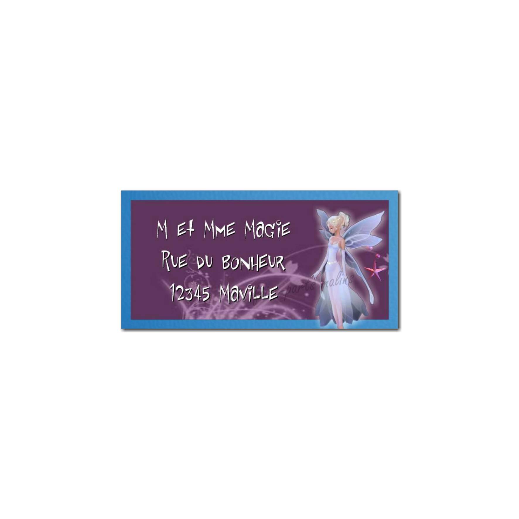 étiquette adresse fée violet