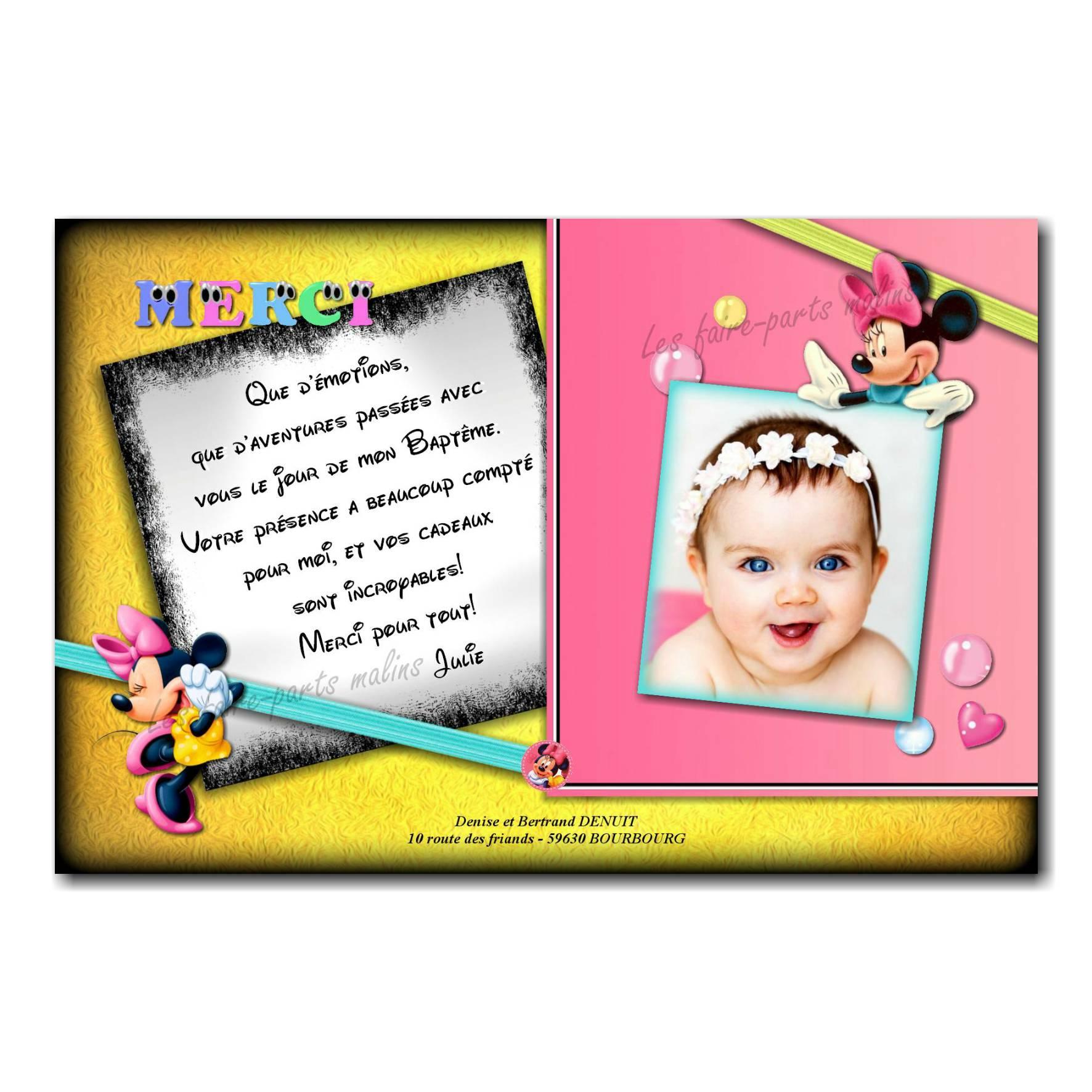 carte de remerciements minnie noir et jaune