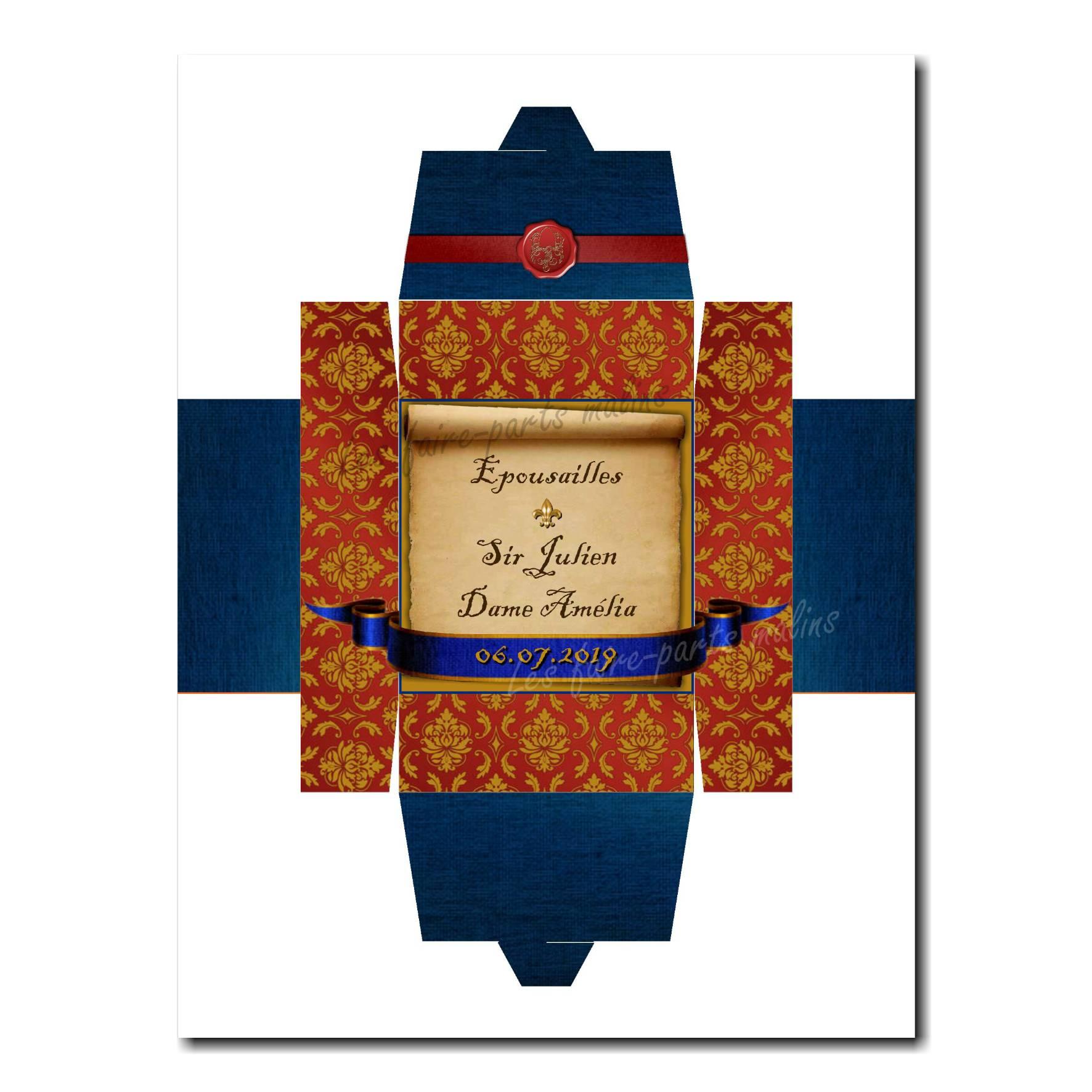 Boite médiéval rouge et bleu avec sceau du roi