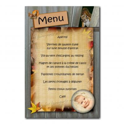 carte de menu automne avec écureuil caché
