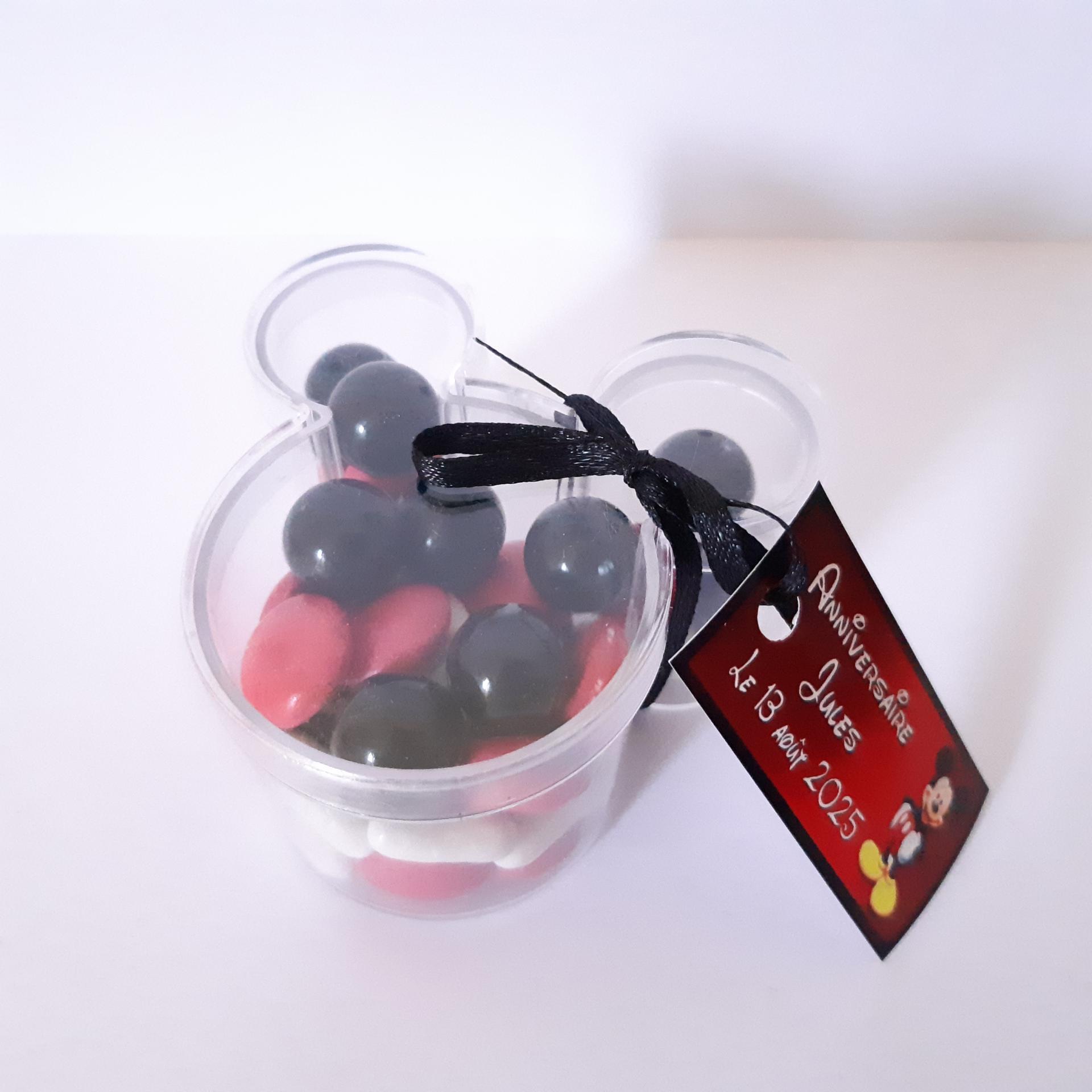 boite souris avec étiquette à dragées mickey