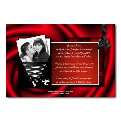 Faire part rouge et noir lacets entrelacés glamour