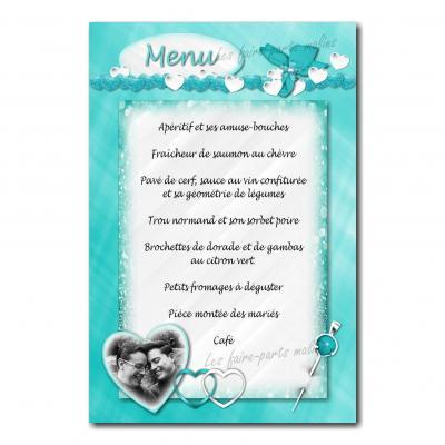 carte de menu turquoise et blanc guirlande de coeur élégant