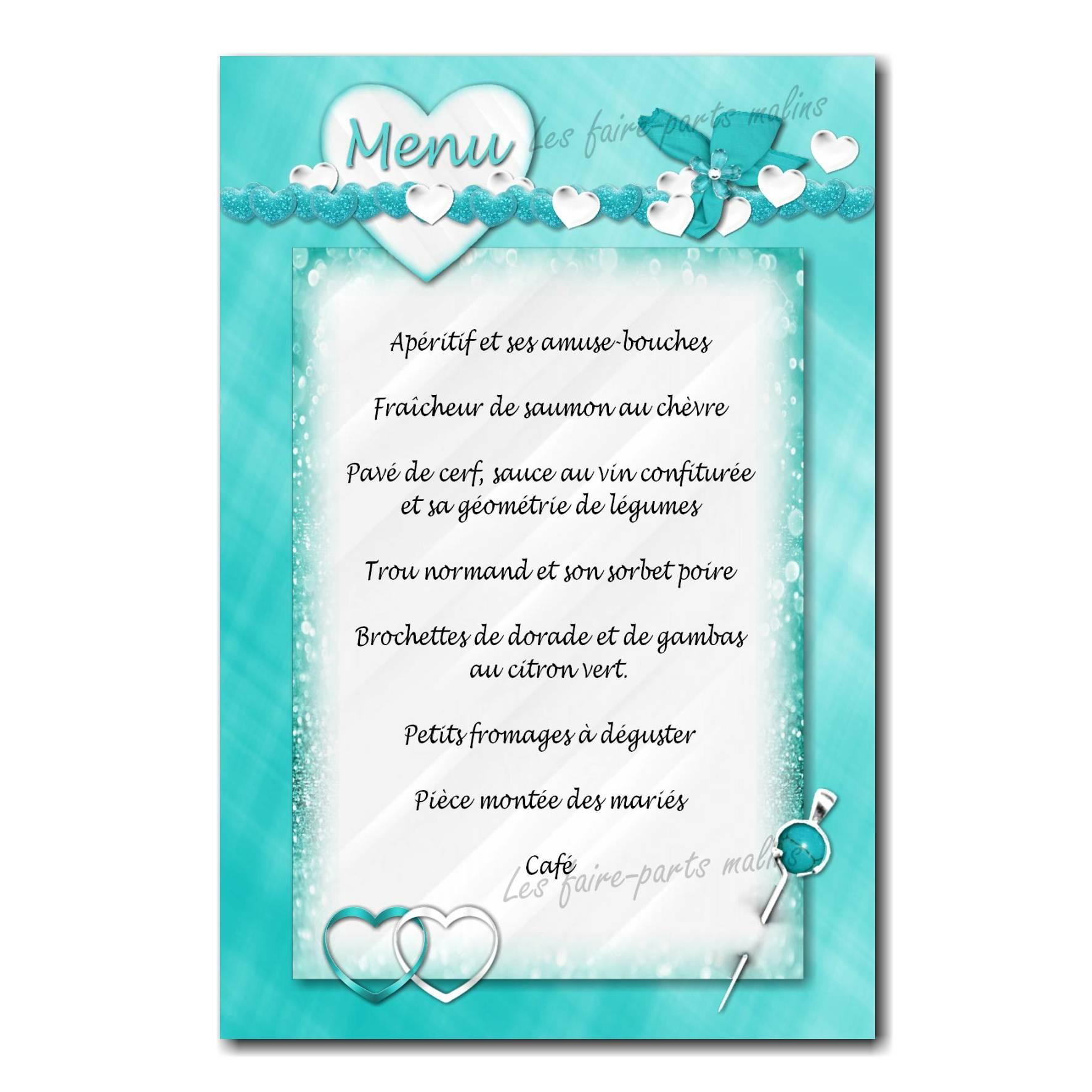 carte de menu fond turquoise avec petit coeur blanc et bleu