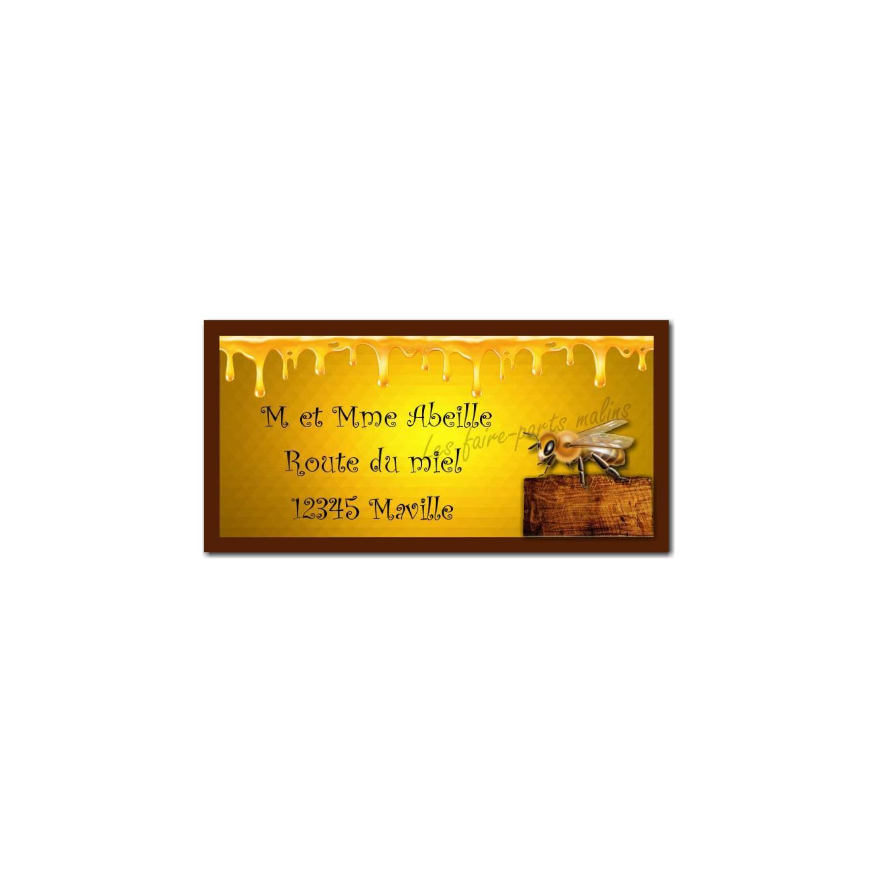 étiquette adresse abeille et miel
