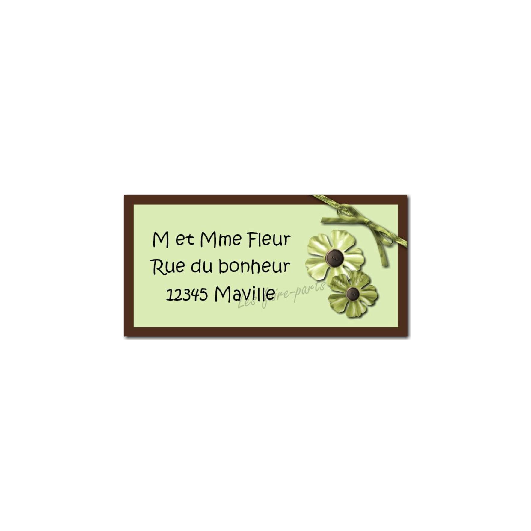 étiquette adresse vert et marron