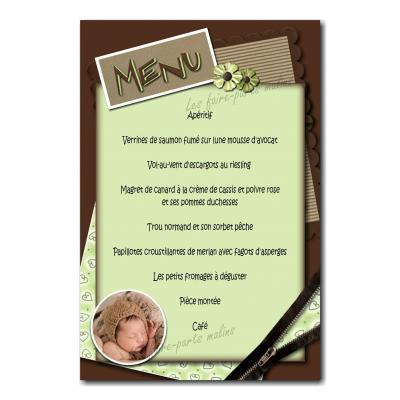 carte de menu vert et marron