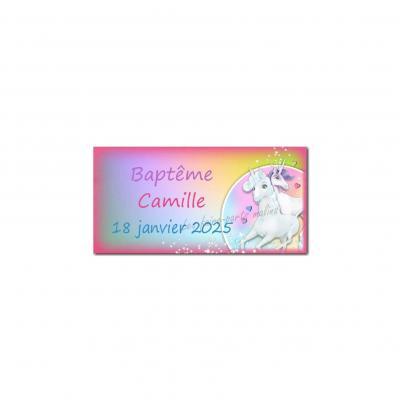 Etiquette dragées licorne multicolore