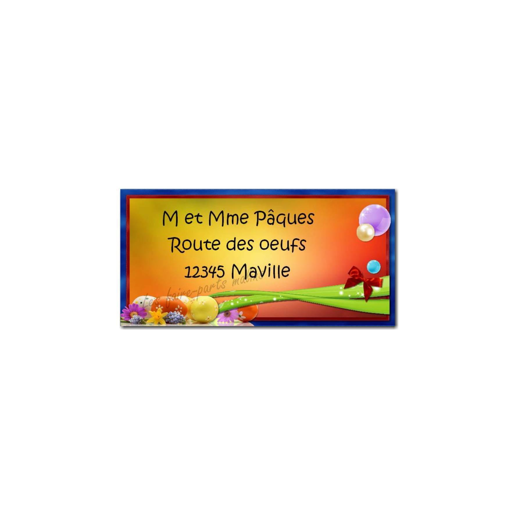 étiquette adresse oeufs colorés de pâques