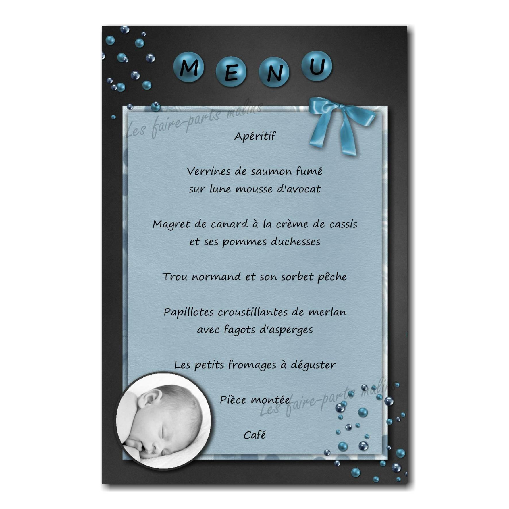 carte de menu avec photo gris foncé et titre personnalisé
