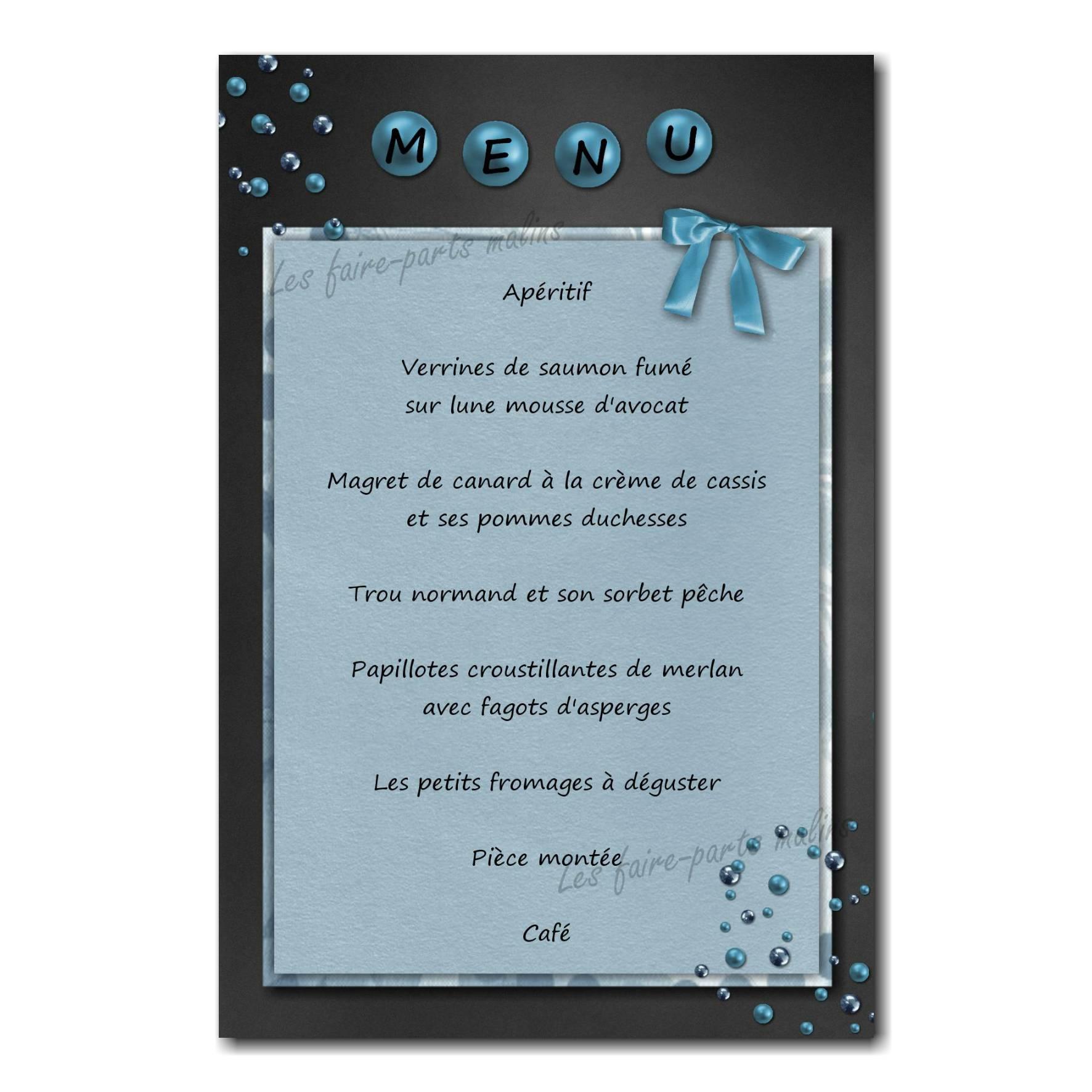 carte de menu perles et ruban gris foncé et bleu