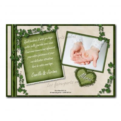 cartes de remerciements lierre vert sur fond blanc mariage