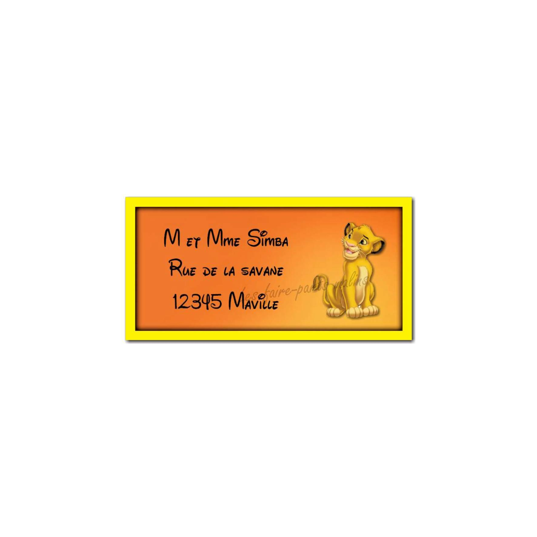 étiquette adresse roi lion